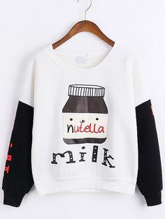 Sweatshirt mit Stickereien - kontrastfarbig 15.47