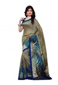 Shonaya Mehendi Color Silk Printed Saree With Unstitched Blouse Piece