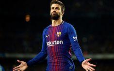 Download wallpapers Gerard Pique, goal, FC Barcelona, footballers, FCB, La Liga, Barca, soccer, Barcelona, Pique, LaLiga, Barcelona FC