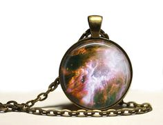 Space fog pendant Astronomy necklace Galaxy by SleepyCatPendants