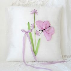 RIBBON HAND EMBRIODERED PILLOWS | Butterfly Ring Bearer's Pillow Silk Ribbon Embroidery by bstudio
