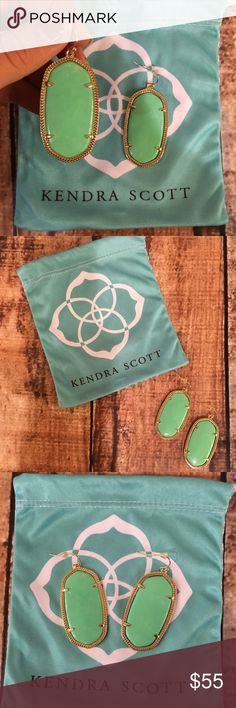 Kendra Scott Danielle earrings in mint green Beautiful mint color! Basically brand new, only worn twice. Comes with Kendra bag. Kendra Scott Jewelry Earrings