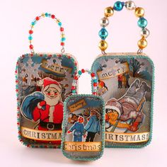 altoid shadow box ornaments << Would be a fun way to use old Christmas Cards!