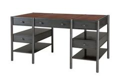 The Tom Tiger Desk Industrial, MidCentury Modern, Metal, Leather, DesksWriting Table by Soane Britain (=)