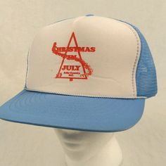 Vtg Christmas in July Ashe County NC Blue Trucker Hat Baseball Cap Mesh Snapback #Nissin #TruckerHat