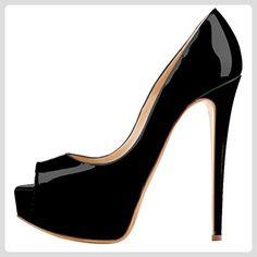 MONICOCO Übergröße Damenschuhe Mehrfarbig Peep-Toe High Heels Pumps mit  Plateau Schwarz Lackleder 41 EU ba85234868