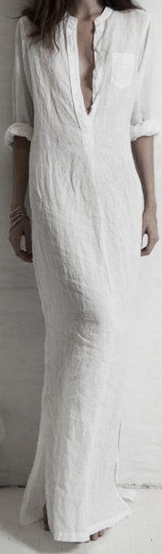 White linen shirt maxi dress