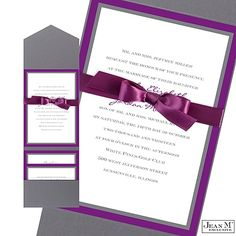 Bold Double Border Wedding Invitation with Pocket - Grapevine from Michael's; can add flourishes $259.87 before RSVPs and Reception cards