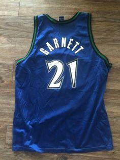 Vtg 90s Champion Minnesota Timberwolves Kevin Garnett Jersey Sz 44 NBA  71f9d92d3