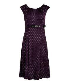 Shelby & Palmer Eggplant & Ivory Pin Dot Belted A-Line Dress | zulily