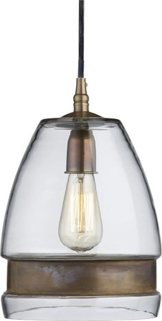 """$199 Morela Glass Pendant Lamp Morela Glass Pendant Lamp. 8.5"""" dia. x 11""""H      Clear glass shade with brass band     Brass 6""""dia. ceiling plate     Historic Edison decorative bulb recommended (accommodates up to 12W CFL or 40W incandescent bulb)     10' black cord"""