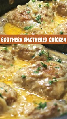 Smothered chicken punches up the intensity by slow-simmering chicken in a flavorful gravy. This will bring the family to the dinner table in a flash! Southern Smothered Chicken Recipe, Southern Chicken, Smothered Chicken Casserole, Chicken Leg Recipes, Easy Chicken And Rice, Chicken Legs, Chicken Receipe, Fried Chicken, Smothered Potatoes