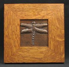 ♈ Dragonfly Versailles ♈ dragonflies in art, photography, jewelry, crafts, home & garden decor - Copper Arts and Crafts Dragonfly Tile