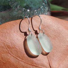 Mermaids Dream Earrings With Seafoam Aqua Sea Glass From California | Out Of The Blue Sea Glass Jewelry