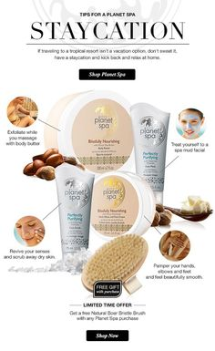 Tips for a Planet Spa Staycation: If traveling to a tropical resort isnt's a vacaion option, dont sweat it, have a staycation & kick back & relax at home. Shop Planet Spa online at www.youravon.com/my1724 #AVON #MOMS #BUYAVONPLANETSPA #PLANETSPASHEABUTTER #PLANTSPAPRODUCTS #HOWTOCHOOSE
