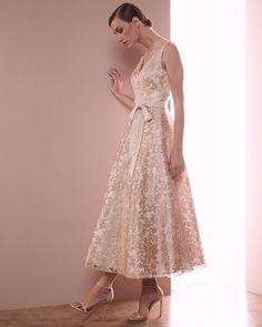 Aidan Mattox Sleeveless Lace Tea-Length Dress, Rose Gold