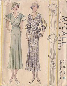 McCall 7316   1930s Ladies' & Misses' Dress