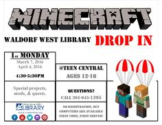 Join us @ Waldorf West for Drop-in Minecraft!