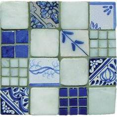 """Mosaic Madness Blue White Montage with Marble 8"""" x 8"""" Hand Painted Ceramic Tile"""