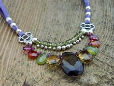 This colorful necklace will light up any party. Find all the parts you need to make it yourself at http://www.ninadesigns.com/jewelry_design_ideas/colorful_leather_cord_for_jewelry.html