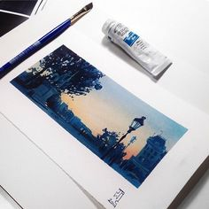 Gouache painting of dusk over the square in front of Notre Dame, from my visit to Paris last September. Gouache painting of dusk over the square in front of Notre Dame, from my visit to Paris last September. Kunst Inspo, Art Inspo, Sketchbook Inspiration, Art Sketchbook, Gouache Painting, Painting & Drawing, Art Sketches, Art Drawings, Posca Marker