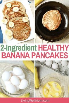 Both parents and kids will love these simple 2-ingredient banana pancakes. They are gluten-free and diary-free too! Banana Pancakes 2 Ingredients, Banana Egg Pancakes, Banana And Egg, Paleo Pancakes, Ww Recipes, Diabetic Recipes, Quick Recipes, Muffin Recipes, Dessert Recipes