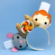 Ratatouille Remi Linguini Mouse Ears by MouseTiara Disney Ears Headband, Diy Disney Ears, Disney Minnie Mouse Ears, Disney Headbands, Ratatouille Disney, Disney Diy Crafts, Decoration, Handmade, Micky Ears