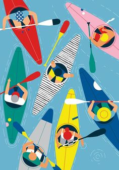 Kayak Club from Verona-based illustrator Giacomo Bagnara who makes me think of Charley Harper in his crisp lines, flattened forms and use of ecstatic colour. Very cool. Art And Illustration, Pattern Illustration, Graphic Design Illustration, Illustrations Posters, Graphic Art, Vintage Graphic, Posca Art, Charley Harper, Arte Pop