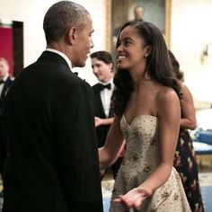 Malia Obama with her father President Obama, attending her first State Dinner in 2016.