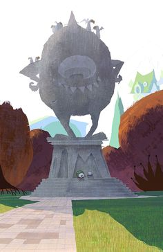 robertkondo:Monsters University early painting. First of a few meetings where bird droppings were discussed, based on our research of campus statues.