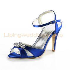 modern satin wedding shoes royal blue high heel sandles bridesmaid ...