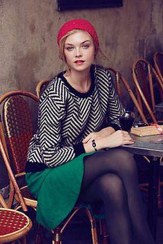 Chevron Sweater and Green Flounce skirt....love | #anthrofav