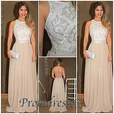 #promdress01 prom dresses -elegant bateau neckline backless handmade champagne chiffon long prom dress for teens,evening dress for season 2015, custom made ball gown #coniefox #2016prom