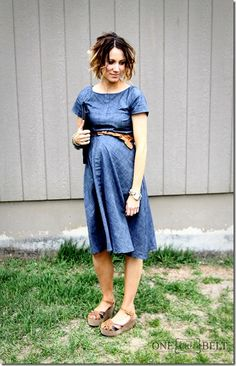 Love this spring maternity look! Belted chambray dress with wedges. Part of this is even thrifted!
