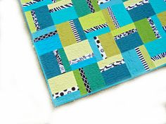 Modern Geometric quilt - baby quilt - wall hanging - solids - blue, green, turquoise