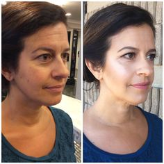 Before and after mature makeup look
