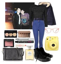Night out with Dan and Phil by unicornsof on Polyvore featuring Topshop, Chicnova Fashion, Converse, FOSSIL, GlassesUSA, NARS Cosmetics, Urban Decay, Benefit and Chanel
