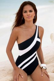 .black & white bathing suit