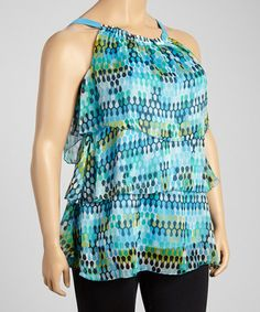 This Turquoise & Navy Honeycomb Tiered Tank - Plus is perfect! #zulilyfinds