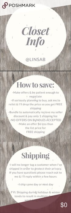 ✨Welcome!✨ 🌟🌟Includes tips on how to save, shipping rules & general Poshmark etiquette🌟🌟 No trades & everything comes from a smoke free & pet free home. Other