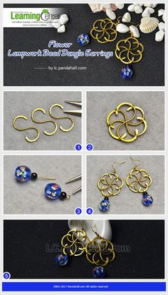 flower lampwork bead dangle earring You are in the right place about DIY Earrings macrame Here we of Wire Jewelry Designs, Jewelry Patterns, Metal Jewelry, Jewelry Crafts, Beaded Jewelry, Handmade Jewelry, Bijoux Fil Aluminium, Wire Earrings, Flower Earrings