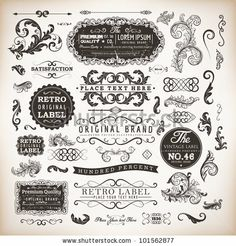 retro label style collection   vintage page elements set by Ozerina Anna, via ShutterStock