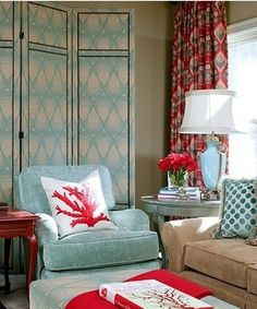 Beautiful Turquoise Room Ideas for Inspiration Modern Interior Design and Decor. Find ideas and inspiration for Turquoise Room to add to your own home. Red Sofa, Room, Eclectic Living Room, Home, Home Bedroom, Beach House Decor, Taupe Rooms, Red Living, Red Rooms