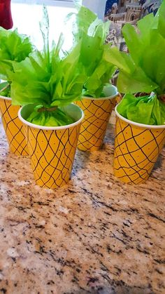 """aloha party Pineapple treat cups that I made in a pinch when the store didn't have what I was looking for. I used them for a """"Moana"""" party, but you could use for any island or tropical th Aloha Party, Hawaiian Luau Party, Hawaiian Birthday, Tiki Party, Tropical Party, Tropical Decor, Beach Party, Luau Party Favors, Food For Luau Party"""