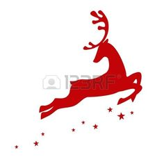 Vector illustration of a red reindeer isolated on white background photo