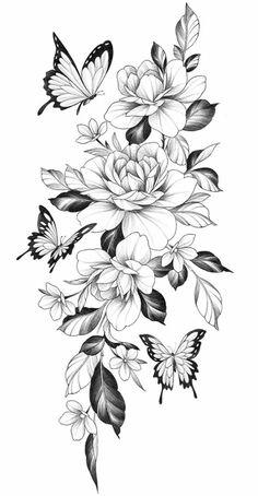 Dope Tattoos, Badass Tattoos, Pretty Tattoos, Unique Tattoos, Beautiful Tattoos, Leg Tattoos, Body Art Tattoos, Floral Back Tattoos, Floral Tattoo Design