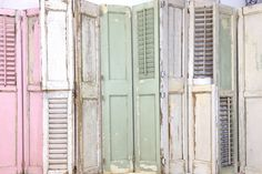 One of a kind Antique shutter backdrop! Old Shutters, Backdrops, Garage Doors, Studio, Antiques, Outdoor Decor, Room, Photography, Furniture