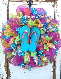 242077b84ed58d Bright Summer Flip Flop Wreath in hot pink