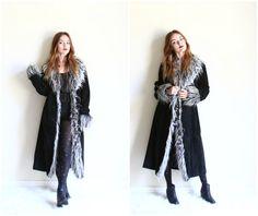 faux fox fur black leather coat  long winter coat  by YatesVintage