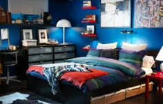 Fresh and Cool Bedroom Ideas for Guys : Marvelous Cool Bedroom Ideas For Guys Blue Interior Wooden Floor